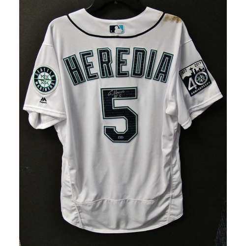 Photo of Mariners Care Hurricane Irma Relief - Guillermo Heredia Game-Used and Autographed Marineros Jersey 9-9-2017 Size 46