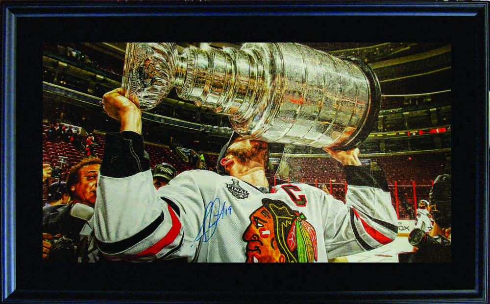 Jonathan Toews - Signed & Framed 14x28 Canvas - Kissing Cup