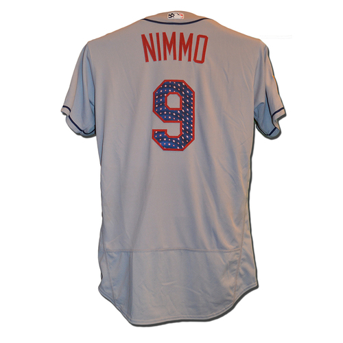 Photo of Brandon Nimmo #9 - Nimmo Goes 3-4 - Game Used Road Grey 4th of July Jersey - Mets vs. Nationals - 7/4/17