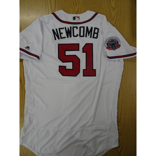 Photo of Sean Newcomb Game-Used Los Bravos Jersey - Worn 9/17/17 at SunTrust Park