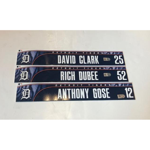 Photo of Team-Issued Locker Name Plates: Anthony Gose, Rich Dubee & David Clark