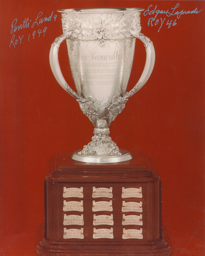 Calder Memorial Trophy 8x10 Photo Autographed by New York Rangers PENTTI LUND & EDGAR LAPRADE