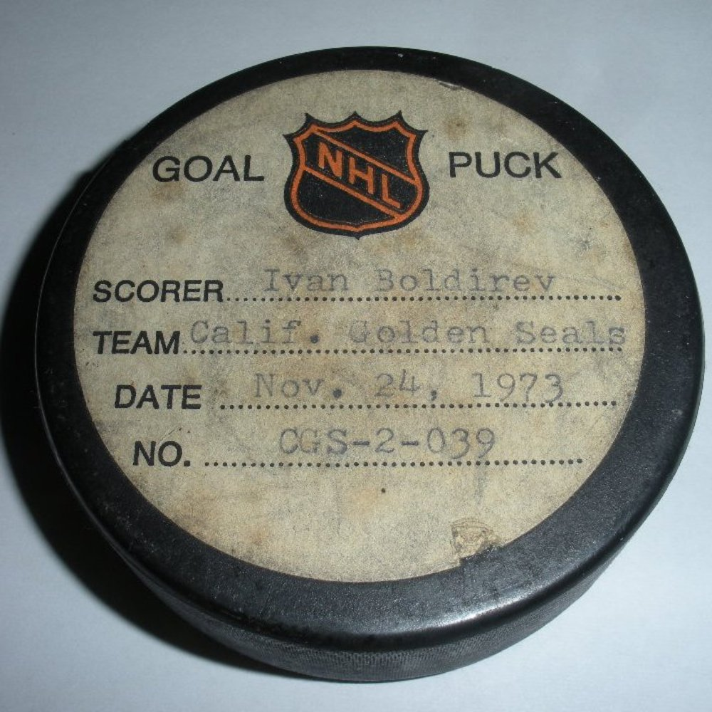 Ivan Boldirev - California Golden Seals - Goal Puck - November 24, 1973 (Minnesota North Stars Logo)