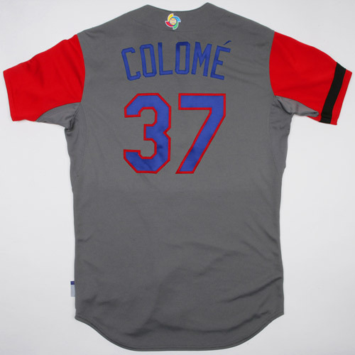 Photo of 2017 WBC Dominican Republic Game-Used Road Jersey, Colome #35