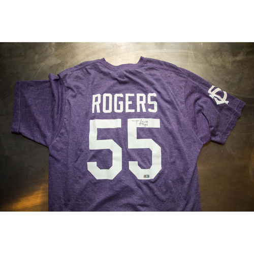 Photo of Autographed Taylor Rogers Prince Night Batting Practice T-Shirt