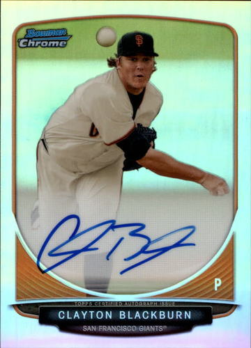 Photo of 2013 Bowman Chrome Prospect Autograph Refractor Clayton Blackburn RC AUTO/500