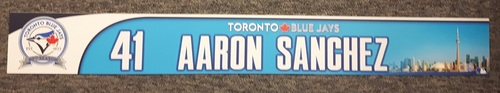 Authenticated Game Used 40th Anniversary Locker Nameplate - #41 Aaron Sanchez