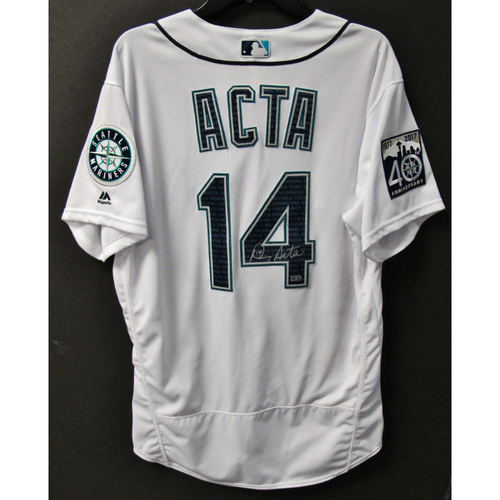 Photo of Mariners Care Hurricane Irma Relief - Manny Acta Game-Used and Autographed Marineros Jersey 9-9-2017 Size 46