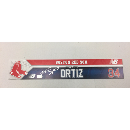 Photo of David Ortiz June 21, 2016 Autographed, Game-Used Locker Tag