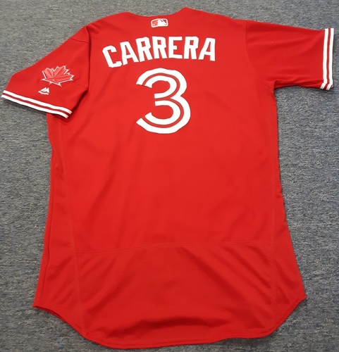 Photo of Authenticated Game Used Jersey - #3 Ezequiel Carrera. July 30, 2017: 3-for-5 with 1 HR, 1 RBI and 3 Runs. Size 44.