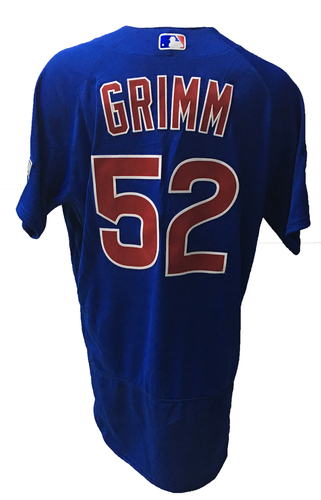 Photo of Justin Grimm Game-Used Jersey -- Grimm 0.2 IP, 0 ER -- 2016 World Champion Season -- NLDS Game 3 -- Cubs vs Giants -- 10/10/16