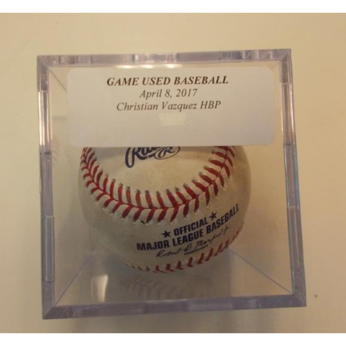 Photo of Game-Used Baseball: Christian Vazquez Hit by Pitch