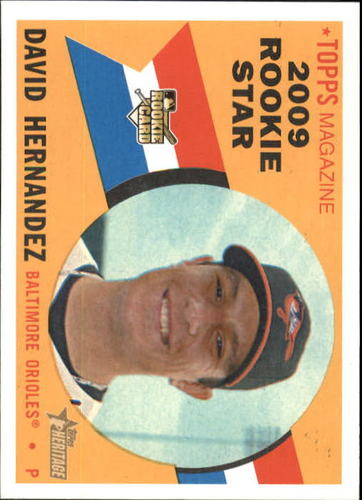 Photo of 2009 Topps Heritage #556 David Hernandez Rookie Card -- D'backs post-season