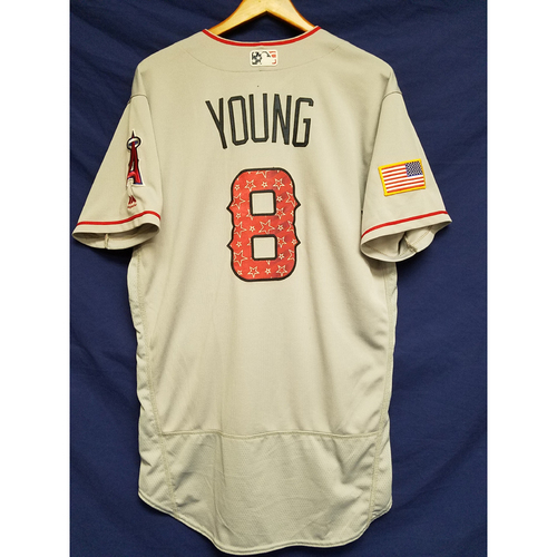 Photo of Eric Young Game-Used Road Jersey - 7/4/2017