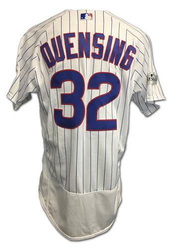 Photo of Brian Duensing 2017 Postseason Game-Used Jersey -- 10/11 vs. Nationals: NLDS Game 4 -- 10/17 vs. Dodgers: NLCS Game 3