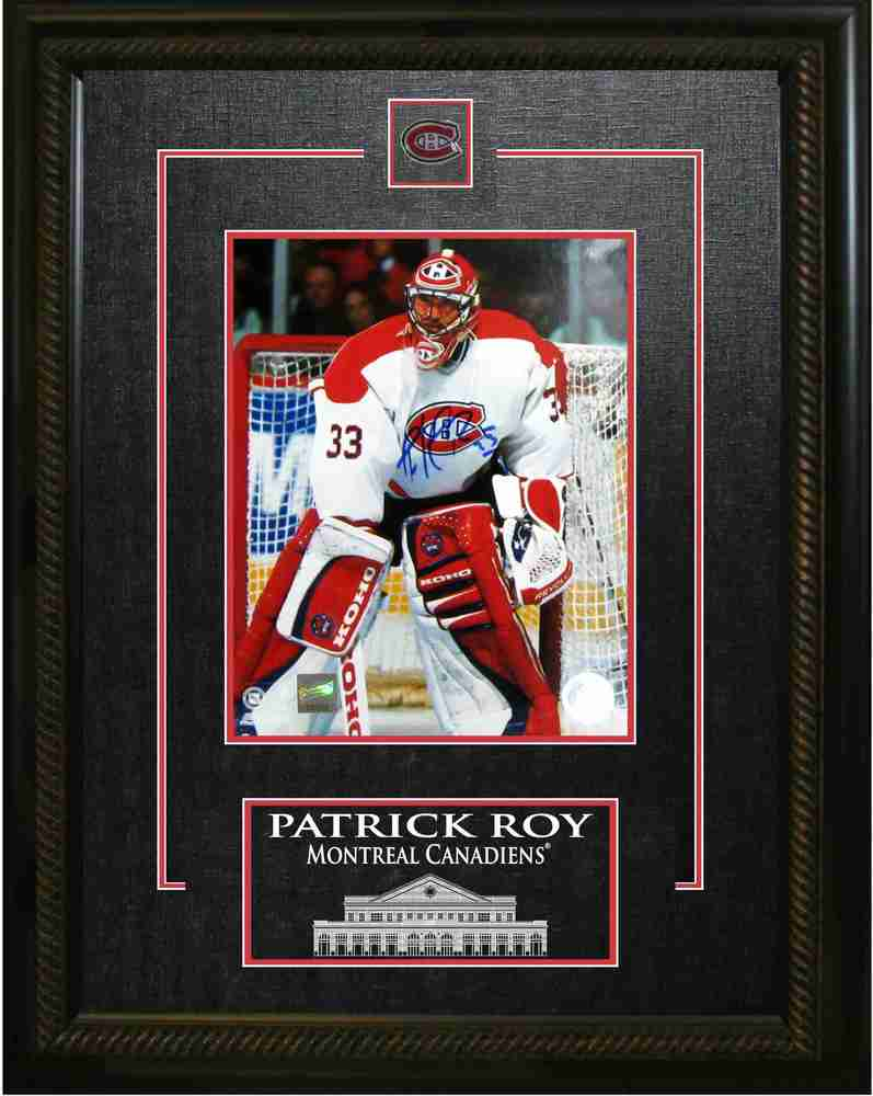Roy,P Signed 8x10 Photo with Etched Mat - Canadiens White Action Photo