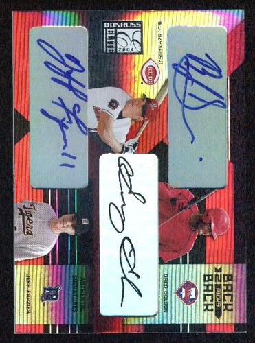 Photo of 2004 Donruss Elite Extra Edition Back to Back Picks Signature #12 B.J. Szymanski/Greg Golson/Jeff Fr