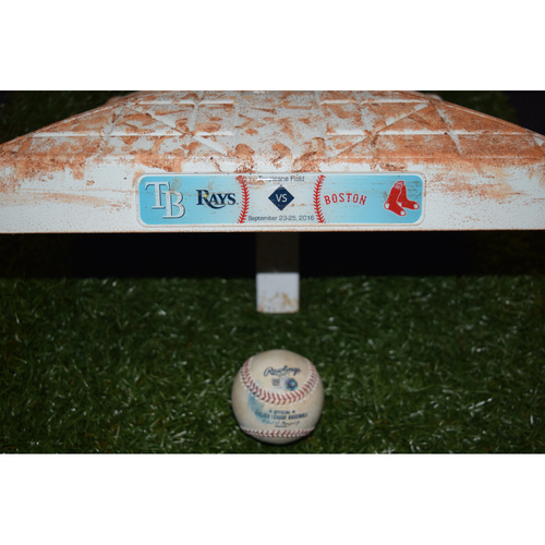 Photo of Game-Used Base and Baseball: David Ortiz
