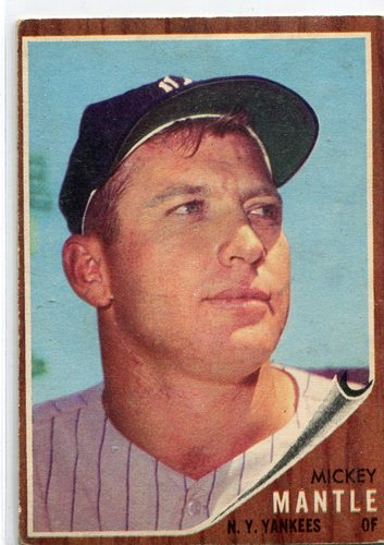 Photo of 1962 Topps #200 Mickey Mantle -- Yankees great; pen mark on back