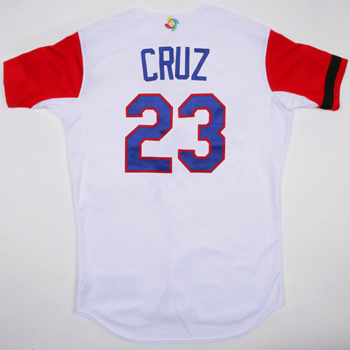 Photo of 2017 WBC Dominican Republic Game-Used Home Jersey, Cruz #23