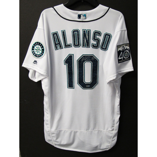 Photo of Mariners Care Hurricane Irma Relief - Yonder Alonso Game-Used and Autographed Marineros Jersey 9-9-2017 Size 48