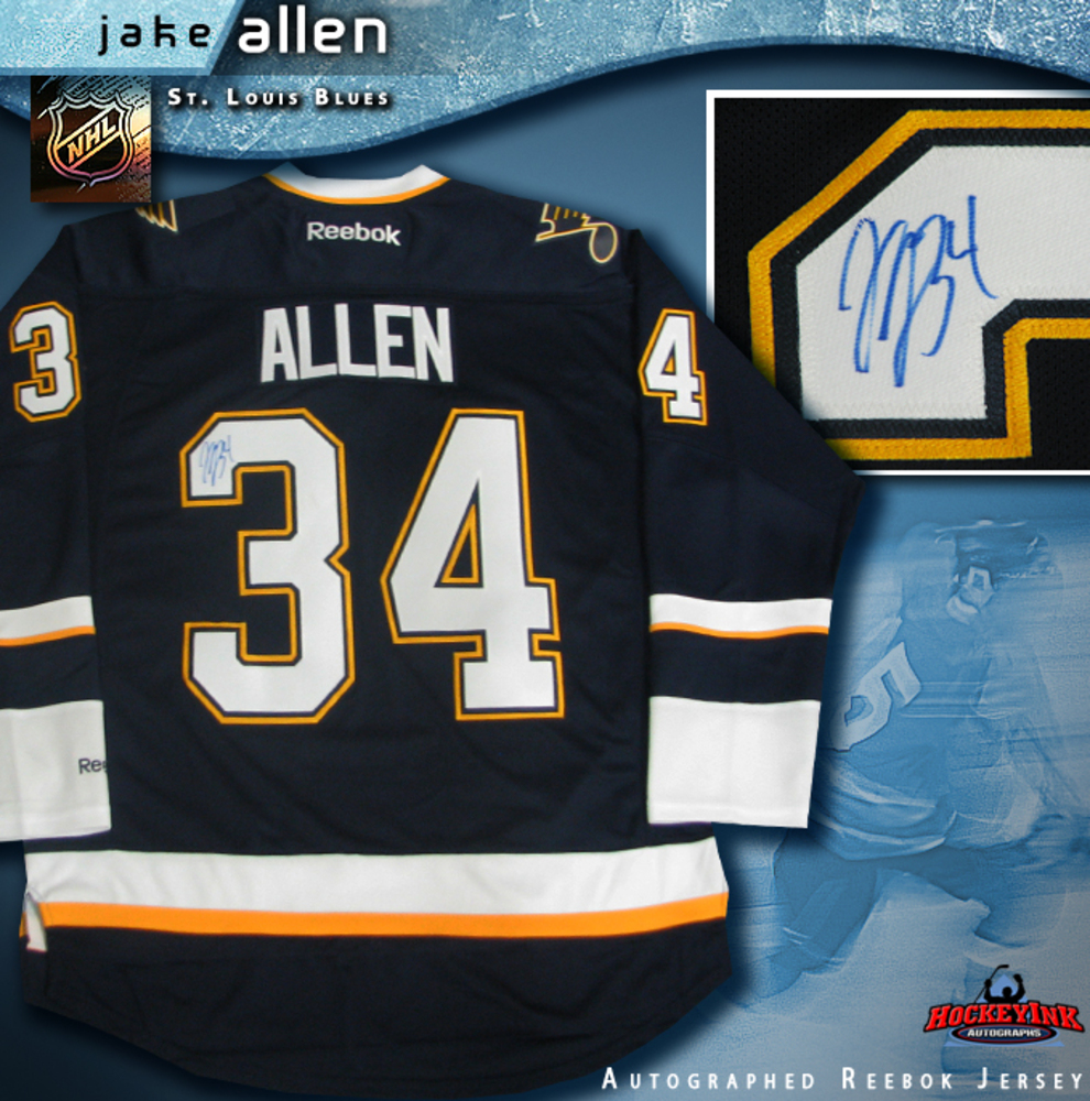 JAKE ALLEN Signed St. Louis Blues Blue 3rd Reebok Jersey