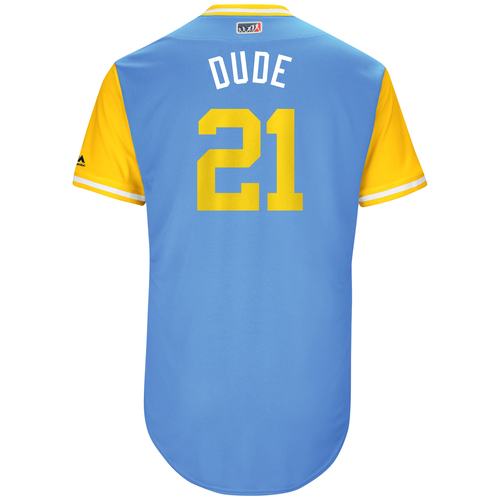 "Photo of Lucas ""Dude"" Duda Tampa Bay Rays Game-Used Players Weekend Jersey"