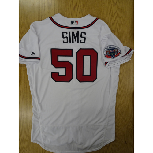 Photo of Lucas Sims Game-Used Los Bravos Jersey - Worn 9/17/17 at SunTrust Park