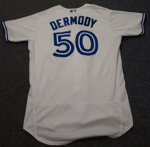 Photo of Authenticated Game Used Jersey - #50 Matt Dermody. July 28, 2017: Gave up 1 Hit. With 0 IP. Size 48.