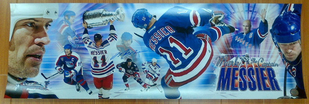 MARK MESSIER New York Rangers AUTOGRAPHED 12x36 Panoramic Collage