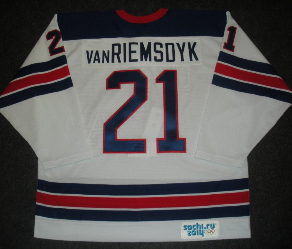 James van Riemsdyk - Sochi 2014 - Winter Olympic Games - Team USA Throwback Game-Worn Jersey - Worn in Warmups and 1st Period vs. Slovenia, 2/16/14
