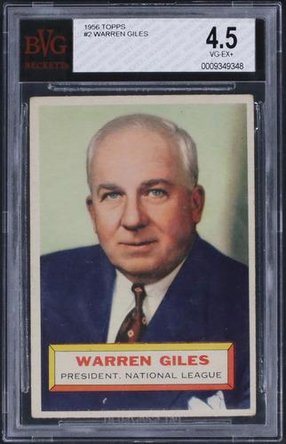 Photo of 1956 Topps #2 Warren Giles Graded BVG 4.5