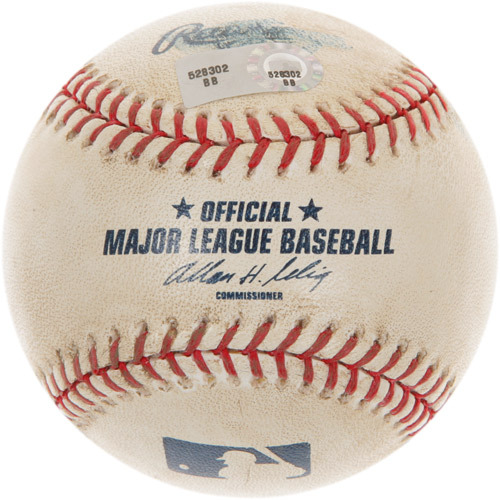 Photo of Game-Used Baseball from Roy Halladay's 100th Career Win Game
