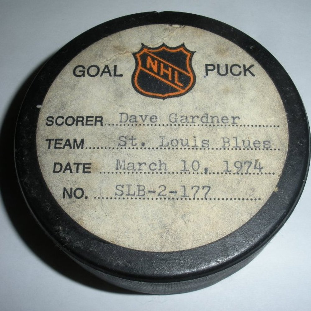 Dave Gardner - St. Louis Blues - Goal Puck - March 10, 1974 (Minnesota North Stars Logo)