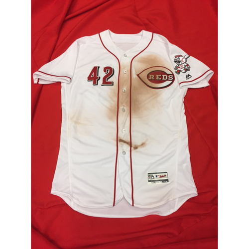 "Photo of Eugenio Suarez -- Game-Used ""42"" Jersey -- 2-for-4, 2B, 3B, 2 R -- MIL vs. CIN on April 15, 2017"