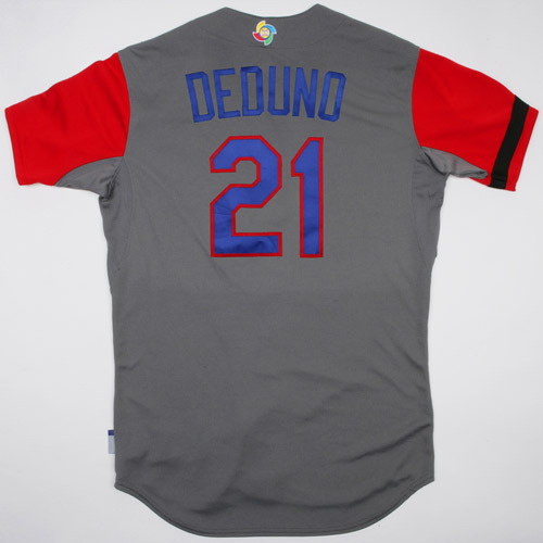 Photo of 2017 WBC Dominican Republic Game-Used Road Jersey, Deduno #21