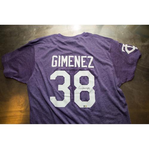 Photo of Autographed Chris Gimenez Prince Night Batting Practice T-Shirt