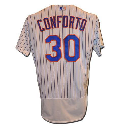 Photo of Michael Conforto #30 - Game Used White Pinstripe Jersey - Conforto Goes 1-3 - Mets vs. Nationals - 9/3/16