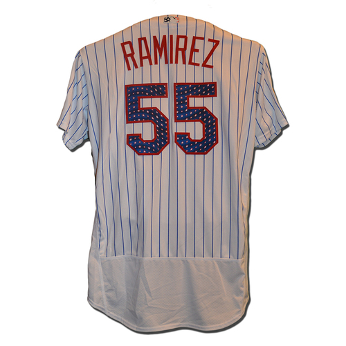 Photo of Neil Ramirez #55 - 1.1 IP, 0 H, 3 K - Game Used White Pinstripe 4th of July Jersey - Mets vs. Phillies - 7/2/17