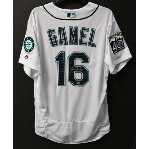 Photo of Mariners Care Hurricane Irma Relief - Ben Gamel Game-Used and Autographed Marineros Jersey 9-9-2017 Size 46