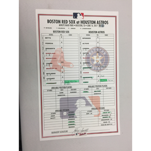 June 16, 2017 Red Sox at Astros Game-Used Lineup Card - Red Sox Win 2 - 1, Mookie Betts Home Run