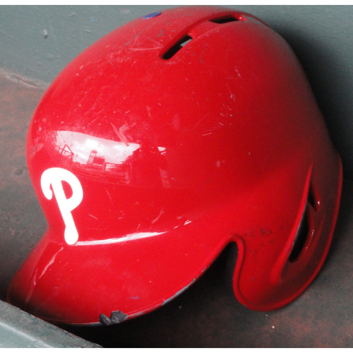 Photo of 2017 Game-Used Red Helmet: Rhys Hoskins (MLB Debut)