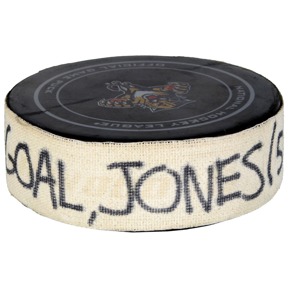 David Jones Calgary Flames Game-Used Goal Puck from November 10, 2015 vs. Florida Panthers - Second Goal of Two Goals Scored