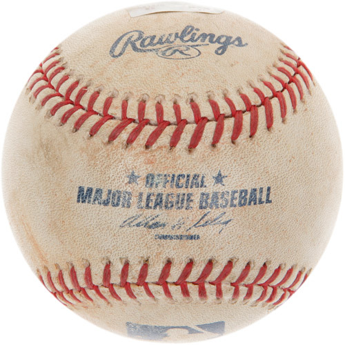 Photo of Game-Used Baseball from Ken Griffey Jr.'s 2,500th Career Hit Game