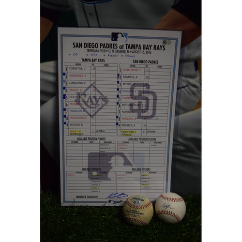 Game-Used Lineup Card and Baseballs: Tampa Bay Rays vs San Diego Padres - August 15, 2016