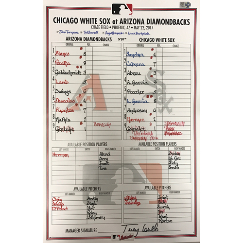 Photo of Game-Used Lineup-Card Dbacks vs. White Sox 5/22/2017
