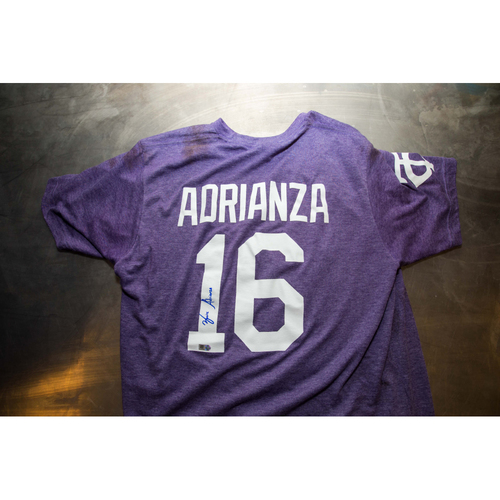 Photo of Autographed Ehire Adrianza Prince Night Batting Practice T-Shirt