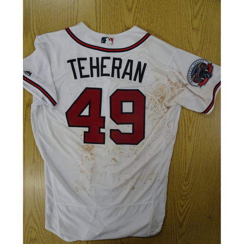 Photo of Julio Teheran Game-Used Los Bravos Jersey - Worn 9/17/17 at SunTrust Park