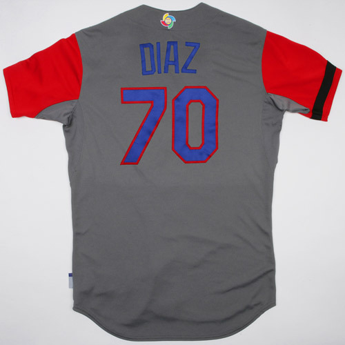 Photo of 2017 WBC Dominican Republic Game-Used Road Jersey, Diaz #70