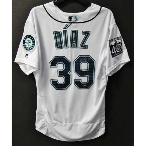 Photo of Mariners Care Hurricane Irma Relief - Edwin Diaz Game-Used and Autographed Marineros Jersey 9-9-2017 Size 46